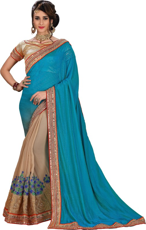 Rola Trendz Solid, Embroidered, Self Design Fashion Heavy Georgette, Poly Silk, Jacquard Saree(Multicolor)