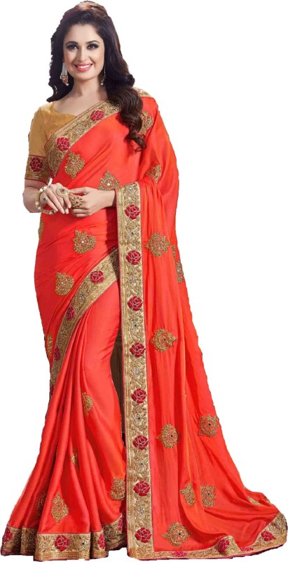 shoppershopee Embroidered, Self Design, Checkered Venkatagiri Silk, Pure Silk, Dupion Silk Saree(Orange)