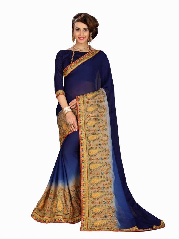 Rola Trendz Solid, Embroidered, Self Design Fashion Chiffon, Satin Saree(Blue)