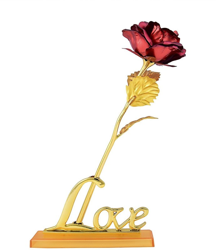 Kids Mandi 24K Red Golden Rose With Love Stand and Gift Box Red, Gold Rose Artificial Flower(10 inch, Pack of 1)