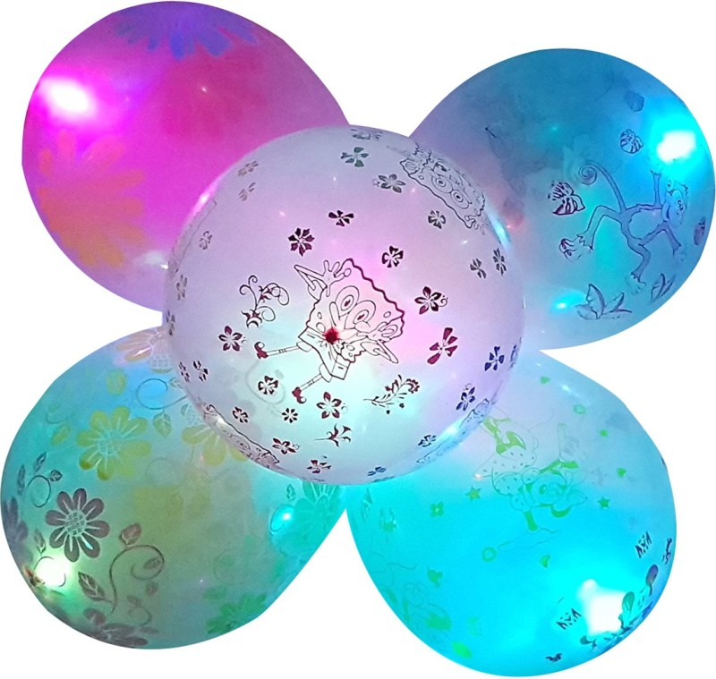 Instabuyz Printed 3D-Printed LED Balloons for Party Festival Diwali Christmas New Years Celebrations Birthday Party Multicolor (Pack of 10pcs) Balloon(Multicolor, Pack of 10)