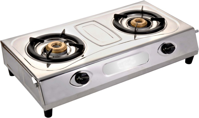 Blue Eagle Silver Stainless Steel 2 Tri Pin Brass Burner Steel Manual Gas Stove(2 Burners)