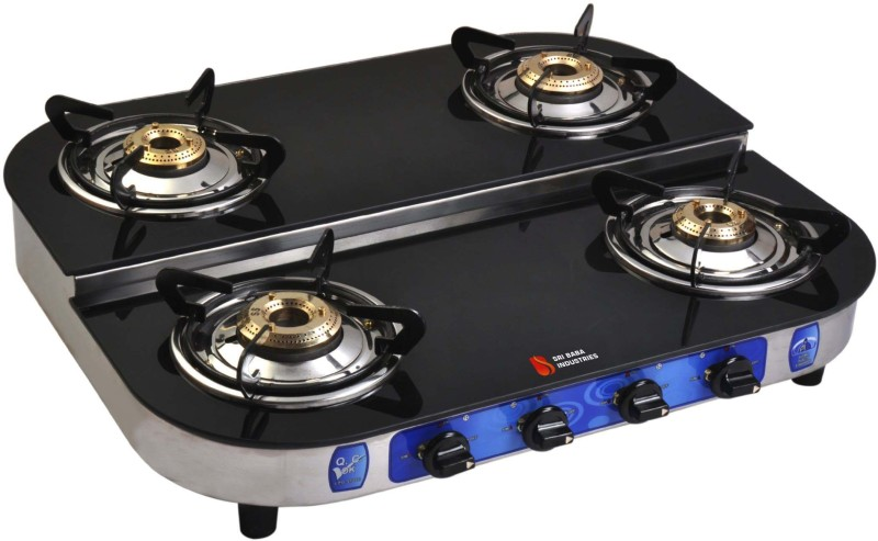 Suraksha Shine Tri Pin Brass Burner Cooktop Toughened Glass Top With Stainless Steel Highly Efficiency L.P Gas Stove Glass, Stainless Steel Automatic Gas Stove(4 Burners)