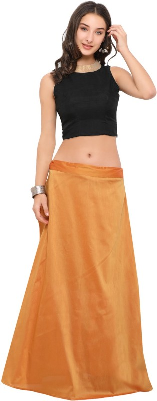 Inddus Solid Semi Stitched Lehenga Choli(Orange, Black)