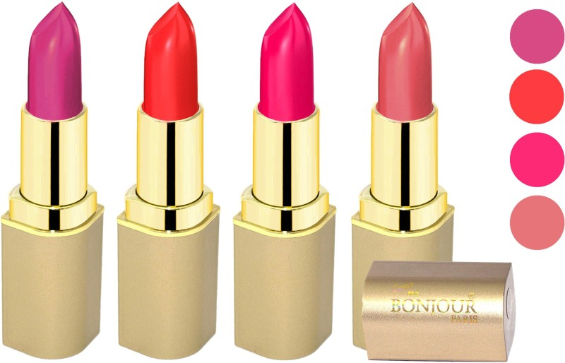 Bonjour Paris Soft Creame Matte Lipstick(Purple-Light Red-Hot Pink-Hot Mauve, 16.8 g)