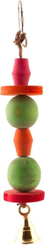 BirdSpot Chunky Wood Ball & Disc Bell Wooden Tug Toy For Bird