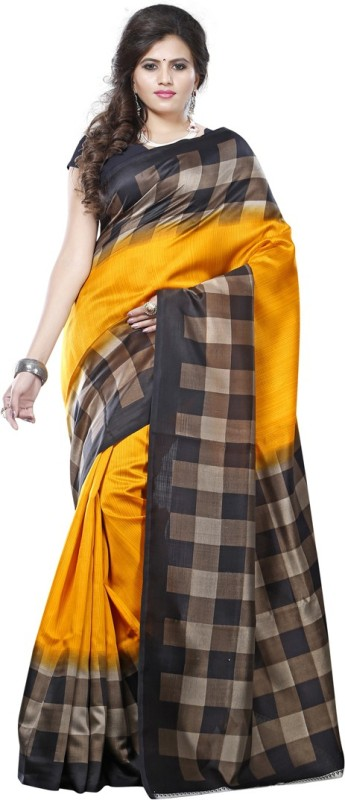 Saara Solid, Geometric Print, Printed Daily Wear Cotton, Silk Saree(Yellow)