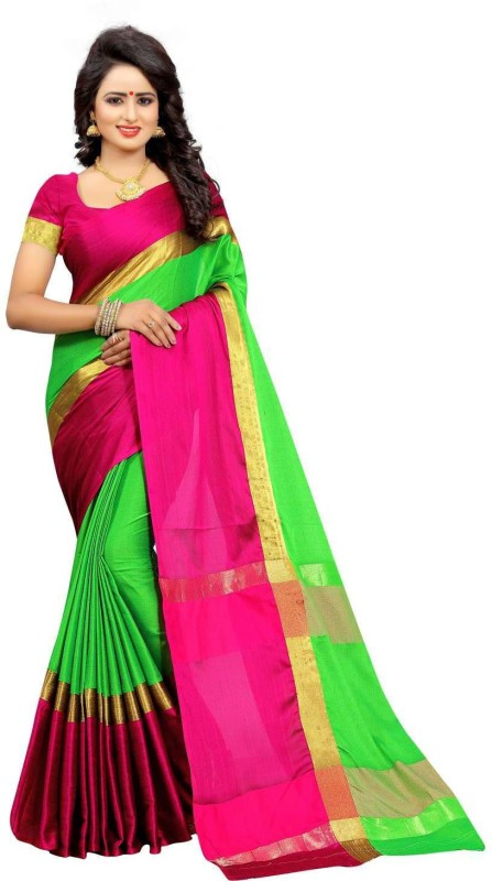 Bhuwal Fashion Solid Fashion Silk Cotton Blend Saree(Green, Pink, Gold)