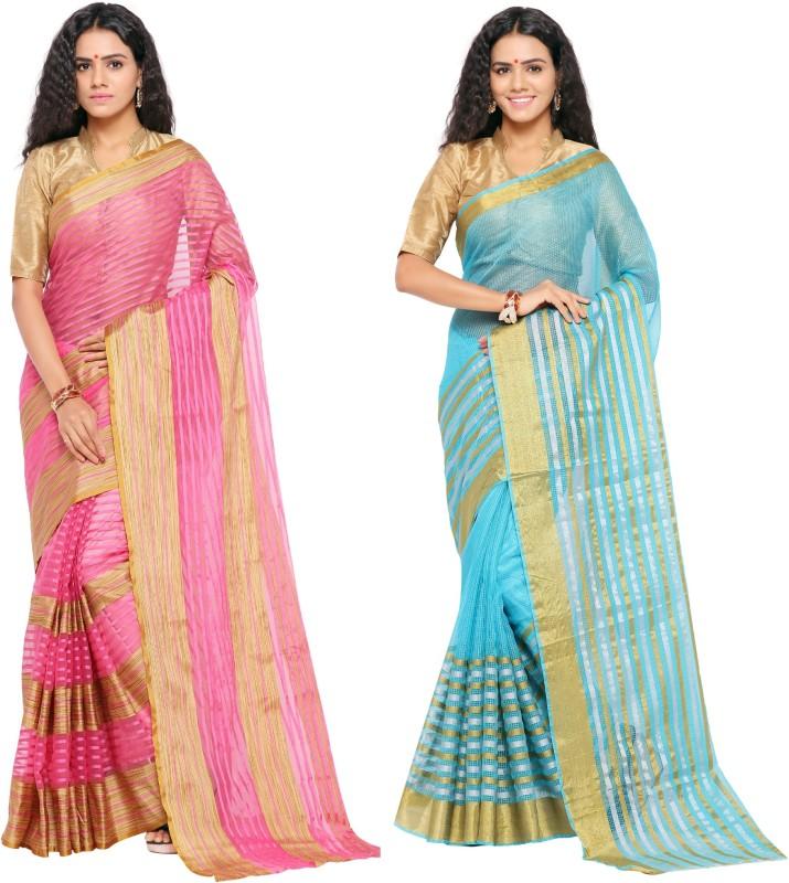 sarvagny clothing Woven Kanjivaram Kota Cotton Saree(Pack of 2, Pink, Blue)