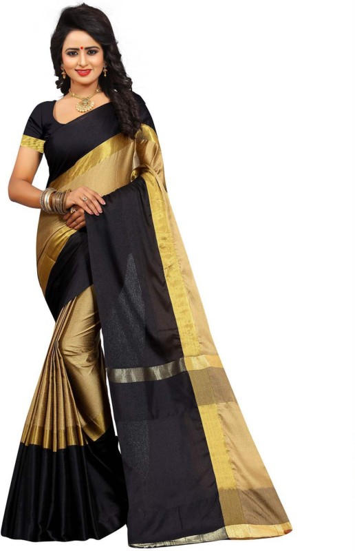 Bhuwal Fashion Solid Fashion Silk Cotton Blend Saree(Black, Gold)