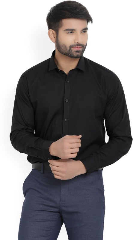 V.Dot by Van Heusen Mens Self Design Casual Black Shirt