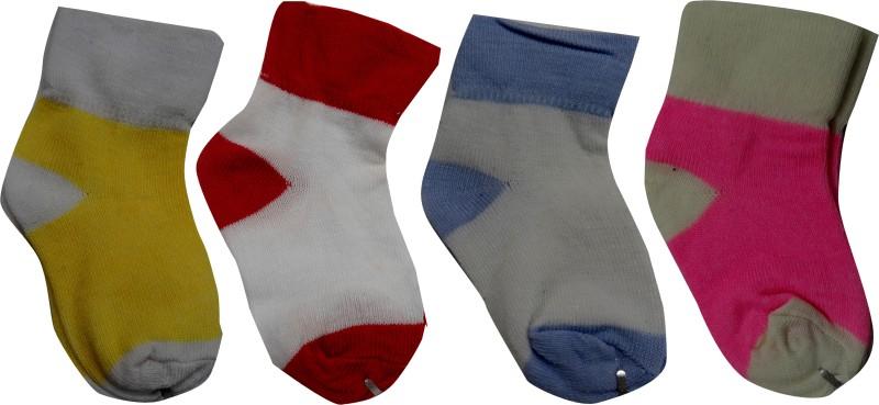 AD & AV Baby Boys & Baby Girls Self Design Ankle Length Socks(Pack of 4)