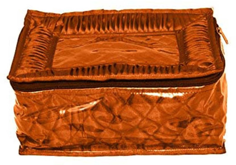 ShopyBucket Jewellery Kit / Make up Kit / Box with 12 pouches in Heavy Quilted Satin Makeup, Jewellery, etc. Vanity Box(Light Brown)