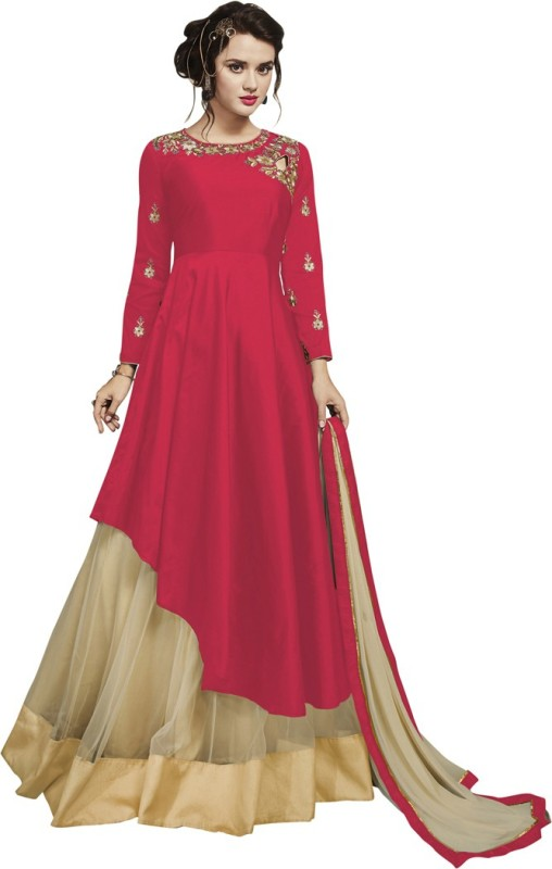 Saara Poly Silk Embroidered, Embellished Semi-stitched Salwar Suit Dupatta Material