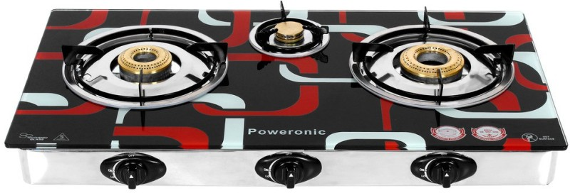 Poweronic PCT-008 Stainless Steel, Glass Automatic Gas Stove(3 Burners)