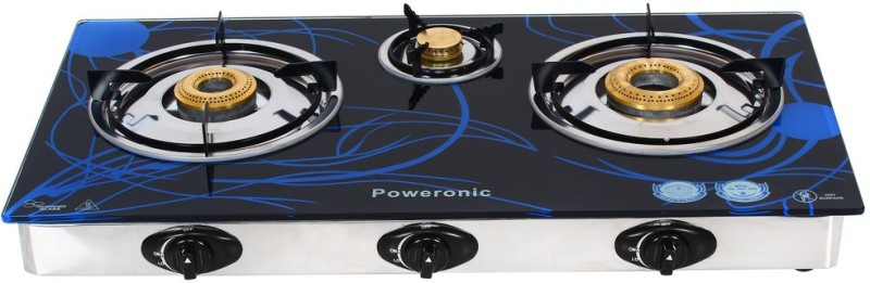 Poweronic PCT-007 Stainless Steel, Glass Automatic Gas Stove(3 Burners)
