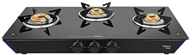 Vidiem Glass Manual Gas Stove(3 Burners)