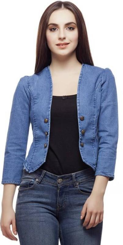 YASMIN CREATIONS 3/4th Sleeve Solid Women's Denim Jacket