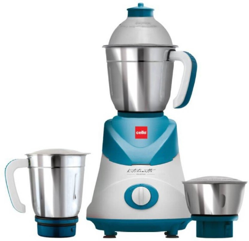 Cello Amaze 500 W Mixer Grinder (Blue, White, 3 Jars) 500 Mixer Grinder(Blue, 3 Jars)