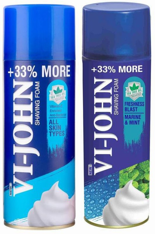 Vi-John Shave Foam All Skin type & Marine Mint 400GM (PACK of 2)(400 g)