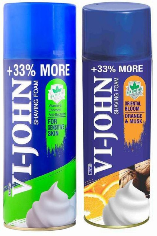 Vi-John Shave Foam Sensitive & Musk Orange 400GM (PACK OF 2)(400 g)
