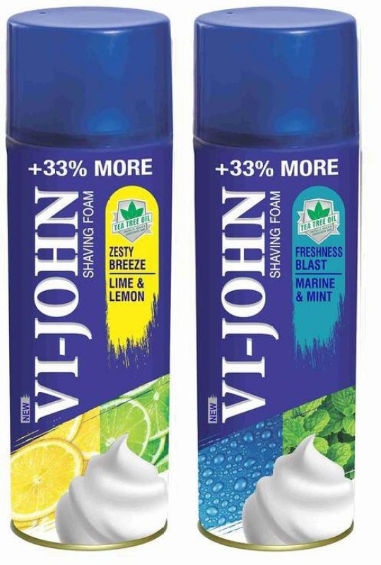 Vi-John Shave Foam Lemon Lime & Mint Marine 400GM (PACK OF 2)(400 g)