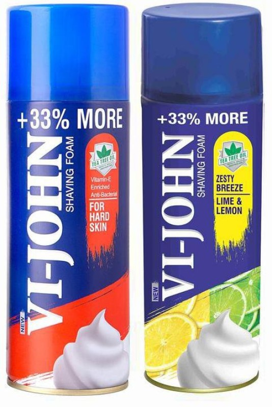 Vi-John Shave Foam Hard & Lemon Lime 400GM (PACK of 2)(400 g)