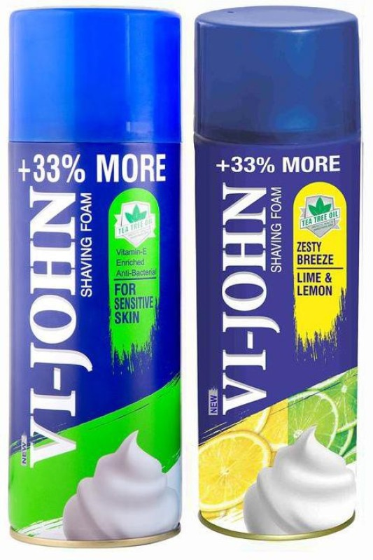 Vi-John Shave Foam Sensitive & Lemon Lime 400GM (PACK OF 2 )(400 g)