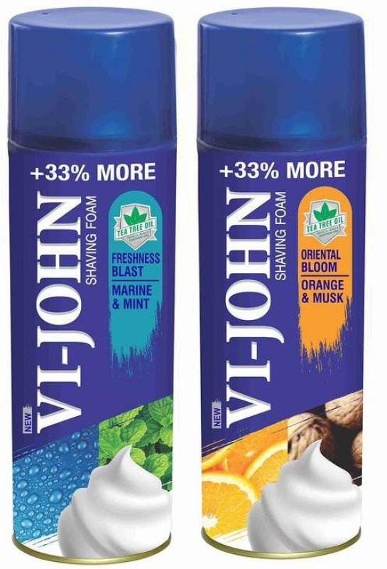 Vi-John Shave Foam Mint Marine & Musk Orange 400GM (PACK of 2)(400 g)