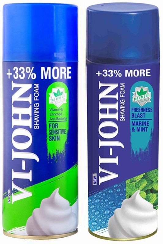 Vi-John Shave Foam Sensitive & Mint Marine 400 GM(PACK OF 2)(400 g)