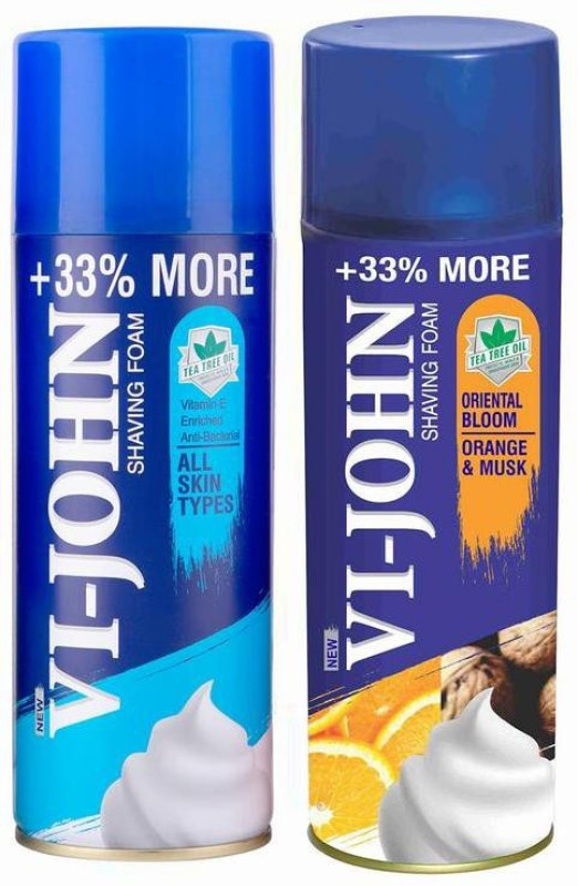 Vi-John Shave Foam All Type & Musk Orange 400gm (Pack of 2)(400 g)