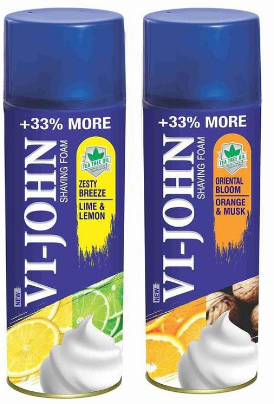 Vi-John Shave Foam Lemon Lime & Musk Orange 400GM (PACK of 2)(400 g)
