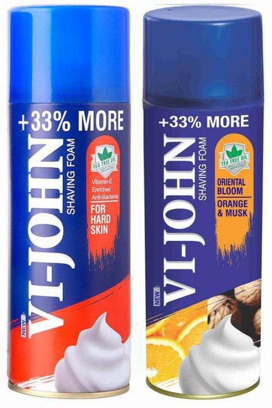 Vi-John Shave Foam Hard & Musk Orange 400GM (PACK of 2)(400 g)