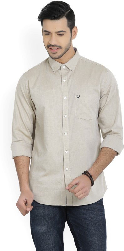 Allen Solly Mens Solid Casual Beige Shirt