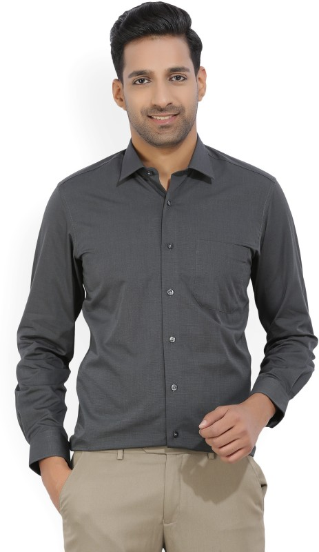 Louis Philippe Mens Solid Formal Grey Shirt