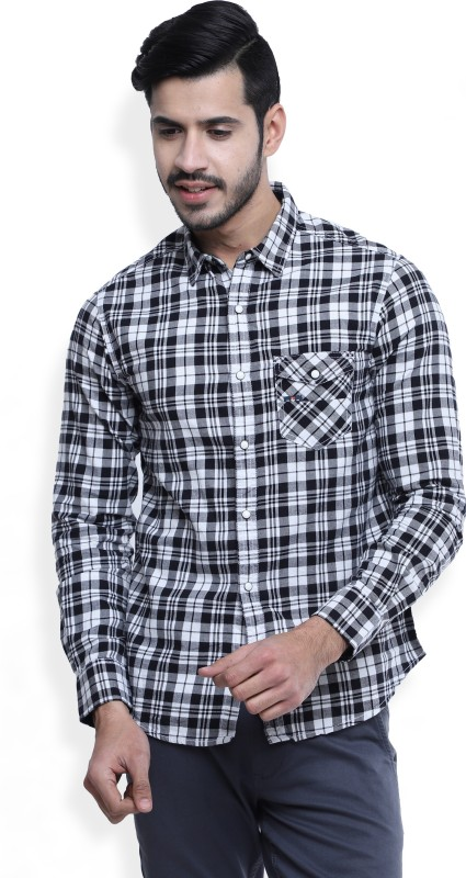 Spykar Mens Checkered Casual Black, White Shirt