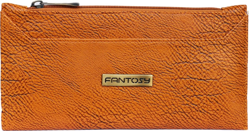 Fantosy Women Tan Genuine Leather Wrist Wallet
