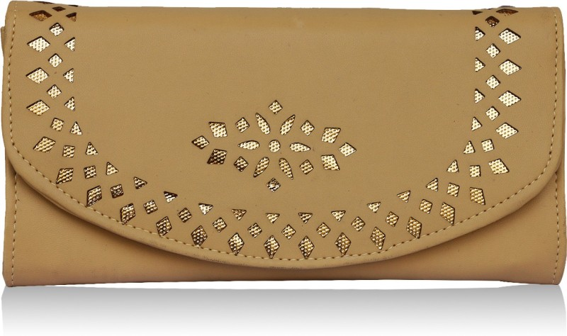 Fantosy Women Beige Genuine Leather Wrist Wallet(4 Card Slots)