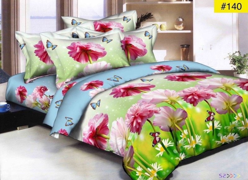 JASICA 7 STAR 144 TC Microfiber Double Floral Bedsheet(Pack of 1, Green)