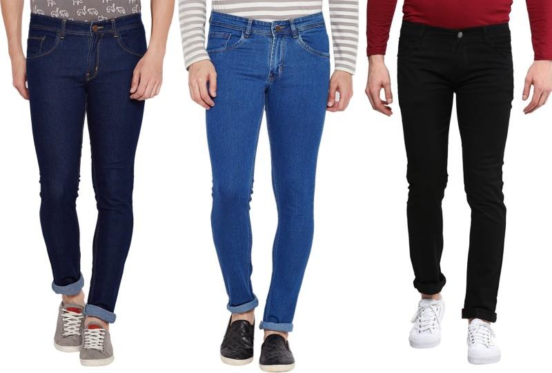 Stylox Slim Men's Dark Blue, Light Blue, Black Jeans(Pack of 3)