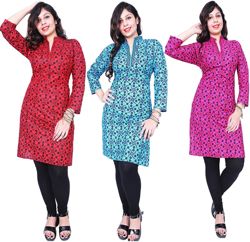 Thari choice Casual Printed Women Kurti(Pack of 3, Blue)