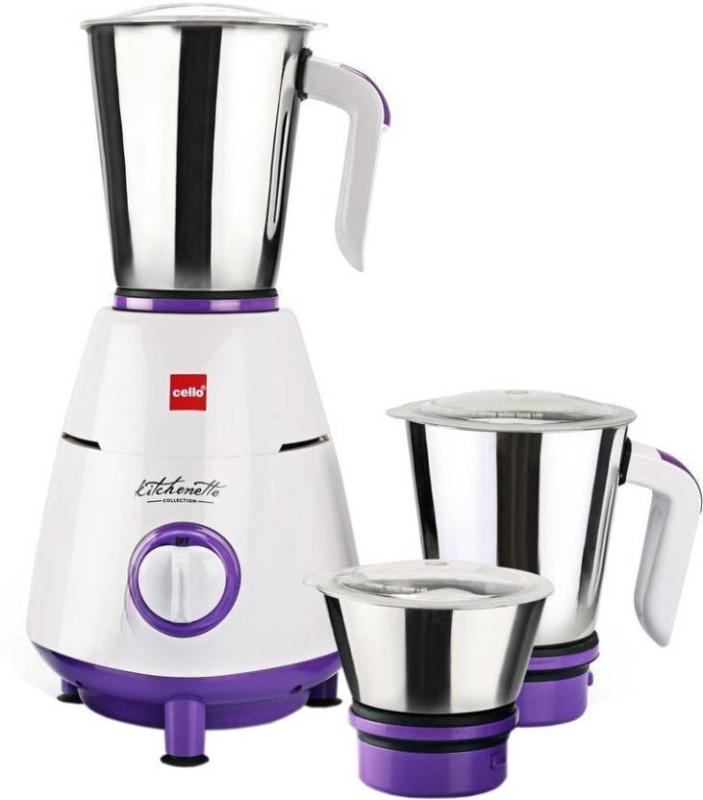 Cello Grind N Mix 800 500 W Mixer Grinder (Violet, White, 3 Jars) 500 Mixer Grinder(Violet,White, 3 Jars)