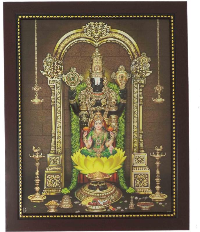 R S Exports Lord Balaji And Lakshmi Photo Frame ( 32.5 cm x 26.5 cm x 1.5 cm ) / venkateswara perumal lakshmi laxmi asta ashta kuber kubera Art work for Paintings and Wall Stickers / God Gods and Goddess Religious Frame Religious Frame