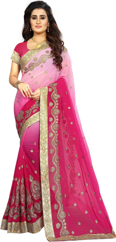 Vaidehi Fashion Embroidered Bollywood Georgette Saree(Pink)