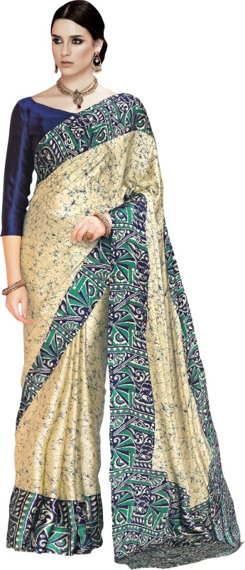 Ratnavati Digital Prints Fashion Crepe Saree(Beige, Blue)