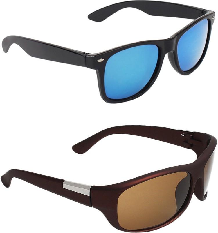 Zyaden Wayfarer, Wrap-around Sunglasses(Blue, Brown)