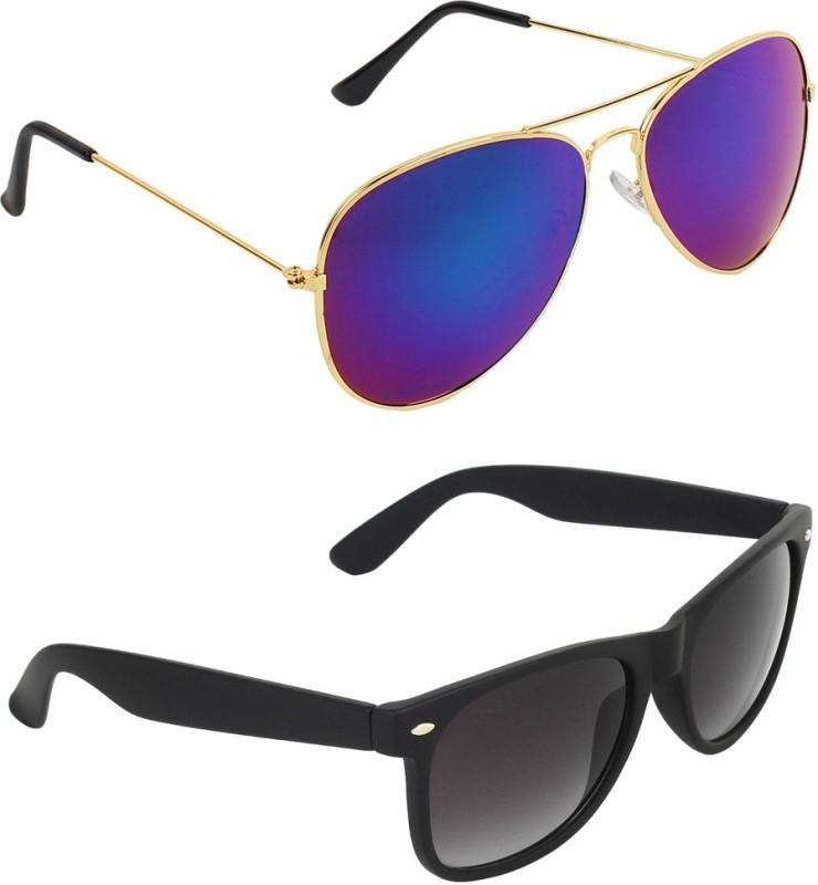 Zyaden Aviator, Wayfarer Sunglasses(Blue, Black)