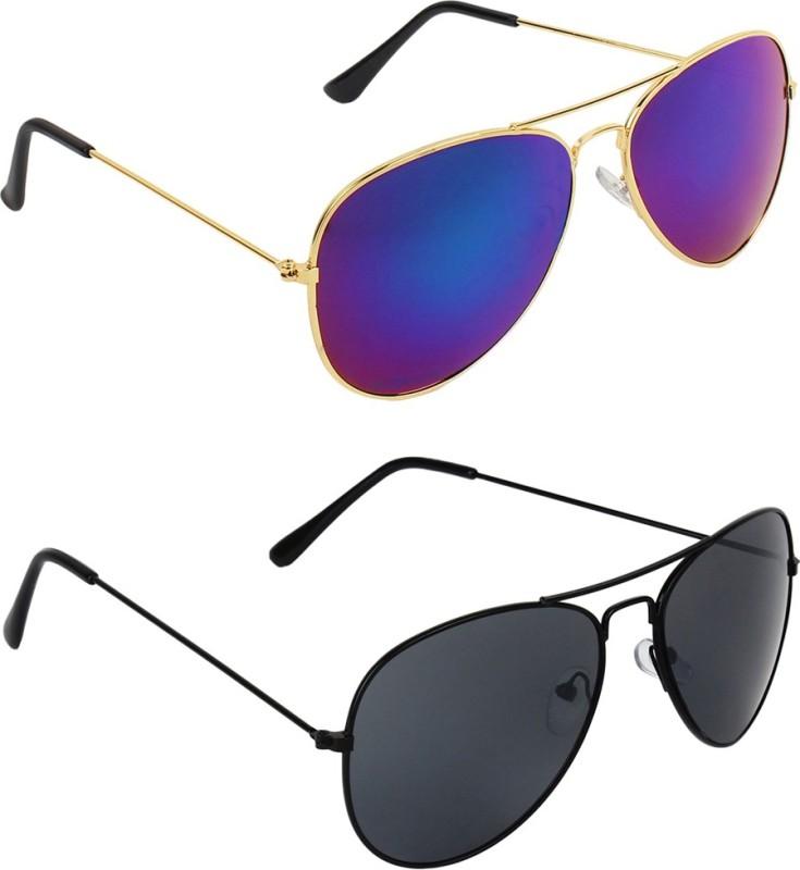Zyaden Aviator, Aviator Sunglasses(Blue, Black)