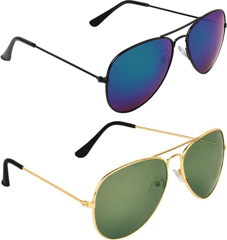 Zyaden Aviator, Aviator Sunglasses(Blue, Green)