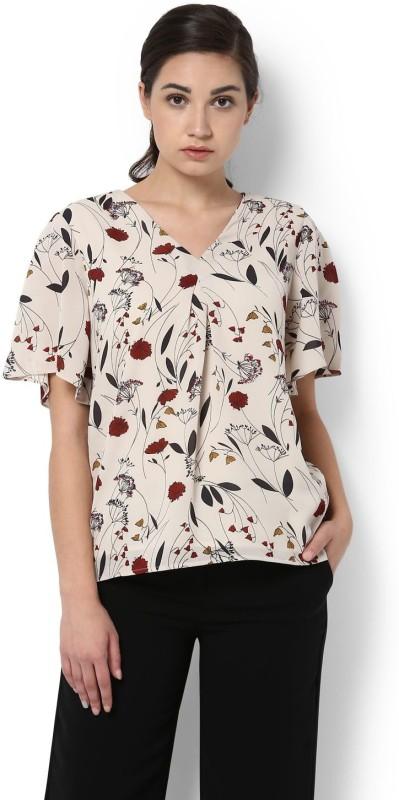 Van Heusen Casual Half Sleeve Floral Print Womens Beige Top